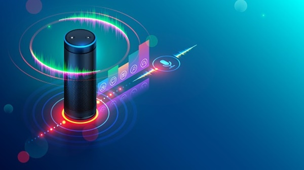 Smart speaker recognitions voice commands and controls devices of smart home. Personal voice assistant connected with internet of things says about status house automation equipment.